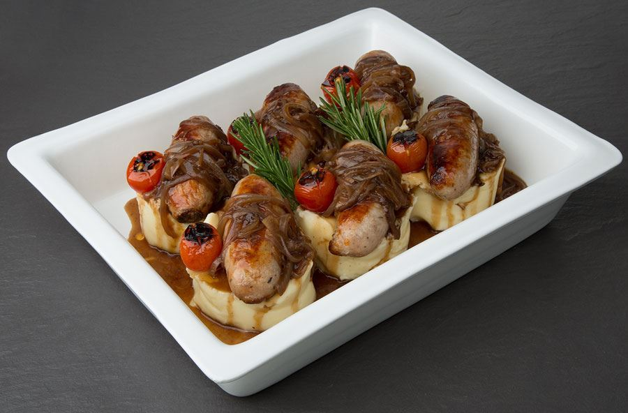Cumberland sausages and mash (serves 8 people)
