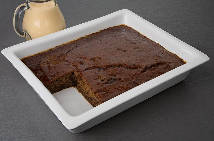 Sticky toffee pudding served with hot custard (serves 8 people)