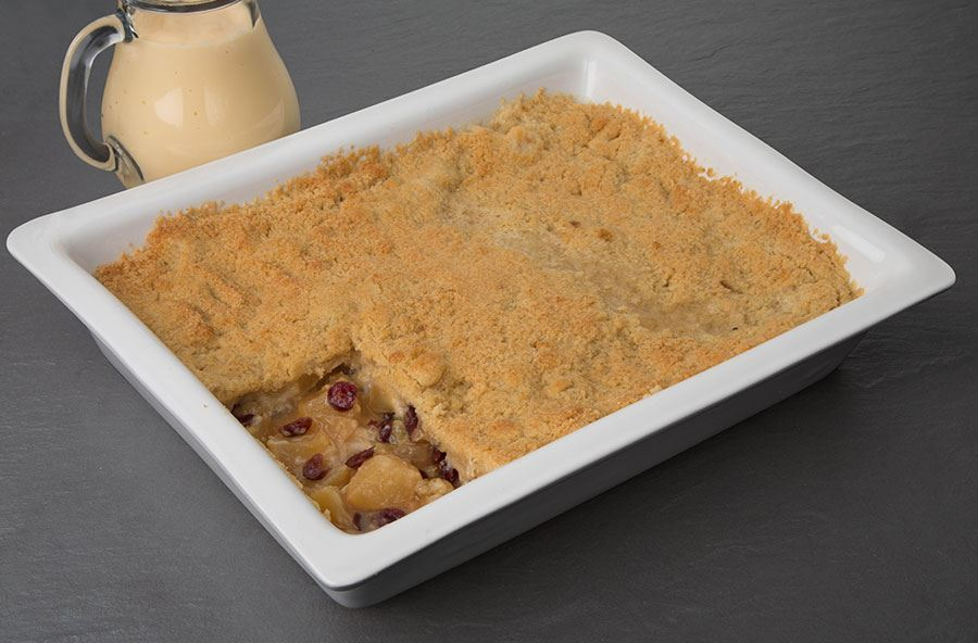 Apple crumble served with hot custard (serves 8 people)