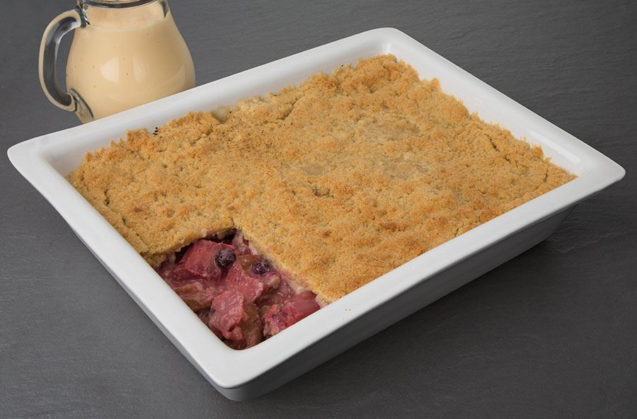 Rhubarb and mixed berries crumble served with hot custard (serves 8)