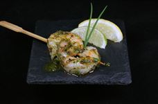 Double prawn skewer with pesto marinade