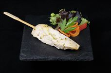 Ginger and lime chicken skewer with lemon mayonnaise dip