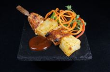 Jerk chicken and pineapple kebab with jerk dipping sauce