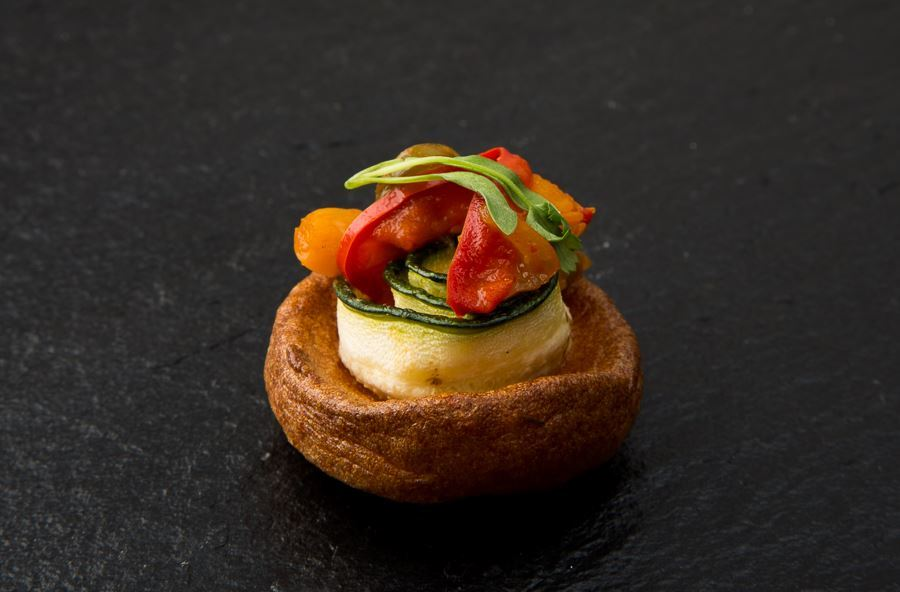 Yorkshire pudding filled with slow roasted pepper canapé