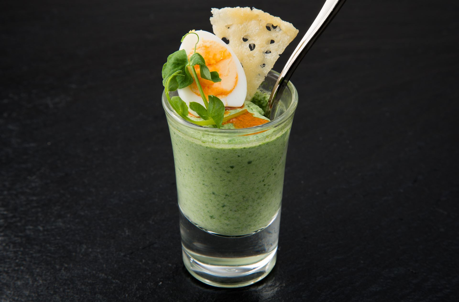 Panna cotta of baby spinach and nutmeg canapés