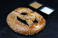 Pretzel with dipping sauces